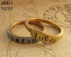 A beautiful brass ring with brass or silver name plate. Also suitable as a stacking ring, Hand Gestempelt, Messing, Gold, Wedding Rings, Engagement Rings, Bracelets, Etsy, Jewelry, Personalized Rings