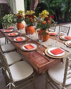 b2ee34ecff97 Fall-inspired table setting for a bridal shower. PCS events offers farm  table rentals