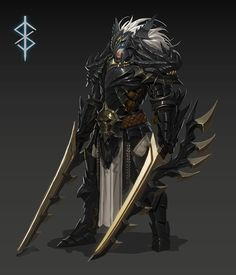 personal work by Kang NK on ArtStation. Fantasy Male, Fantasy Armor, Fantasy Weapons, Dark Fantasy Art, Fantasy Character Design, Character Concept, Character Art, Armor Concept, Concept Art
