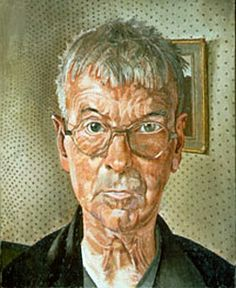 """Sir Stanley Spencer, self portrait. 1959, oil on canvas.  (""""I love to dwell on the thought that the artist is next in divinity to the saint. He, like the saint, performs miracles,"""" Sir Stanley Spencer)"""