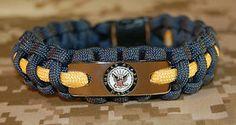 U.S. Navy paracord bracelet Navy blue and gold with engraved emblem