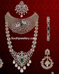 bridal peacock diamond choker, peacock haram paired with matching diamond chandbalis, tikka and bangle by P Satyanarayan and Sons Jewellers.