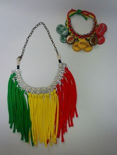 Reggae color necklace & ankle bracelet, made from pop tab/ bottle cap. Created by Sunny.