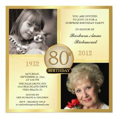 "Create your own elegant 80th Adult Birthday Surprise Party Invitations. Classic golden square for men or women, personalized with double photo frame inserts for ""Then & Now"" pictures -- Customize the name, date, and details for your special celebration. Can be easily customized for other special occasions, corporate events,and milestone celebrations -- 81st, 82nd, 83rd, 84th, 85th, 86th, 87th, 88th, 89th. **NOTE: Sized for SQUARE invitation cards -- extra postage required. Other sizes and…"