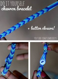 #DIY -- Learn how to make a chevron friendship bracelet (+ button closure for easily slipping on & off). Pin now, watch later! Super simple.