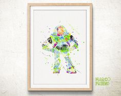 Toy Story Buzz Lightyear Watercolor Art Print - Home Decor - Watercolor Painting - Artwork - Kids Decor - Wall Art - Disney Accessories - 89