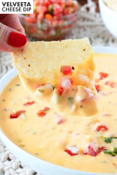 This awesome queso recipe (a.k.a. Mexican Velveeta Cheese Dip) is so easy to make! You can whip it up in the microwave or the crock pot and it is the perfect party appetizer!  It's just like the cheese dip from your favorite Mexican restaurant…only better!