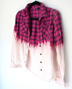 Vintage Flannel Bleached pink and black plaid by MFjewels on Etsy from MFjewels. Saved to Style. Textiles, Mode Tartan, Diy Vetement, Do It Yourself Fashion, How To Tie Dye, Dye Shirt, Shibori, Diy Clothing, Tye Dye