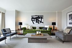 One of the six new, apartment-like suites of the Loews Regency Hotel in Manhattan, designed by Nate Berkus.   Lonny.com