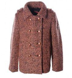 Flo melee wollen winterjas met de looks van een double breasted knoopsluiting - Zalm - NummerZestien.eu