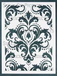 Stencil Girl Damask Stencil by Michelle Ward Laser Cut Patterns, Stencil Patterns, Stencil Designs, Damask Patterns, Stencils, Damask Stencil, Folk Embroidery, Embroidery Patterns, Paper Art