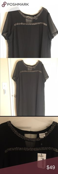 NWT Junarose black dress with beaded neck sz 20 Gorgeous Junarose dress with black beads around the neckline and a small opening in the back. Never worn tags still on. It's very comfortable and flattering. The fabric is light to the touch and does not cling. Junarose Dresses