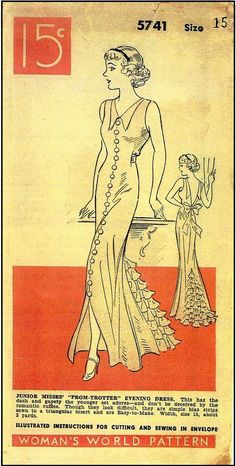 1930s 'Prom Trotter' Low Backed Evening Dress With Ruffled Insert Sewing Pattern - Women's World Pattern #5741