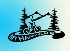 mountain biking vinyl decal sticker - My Happy Place- Biking Decal for car, laptop, macbook, wall, e Mountain Biking Quotes, Mt Bike, Bike Stickers, Outdoor Stickers, Bike Logo, Bike Tattoos, Bike Illustration, Bike Quotes, Cool Bike Accessories
