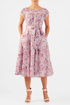 Floral print cotton voile with pintuck pleat front bib with lace trim adds fresh energy to our fit-and-flare dress cinched in with a waist-defining removable sash tie belt and full flare skirt.