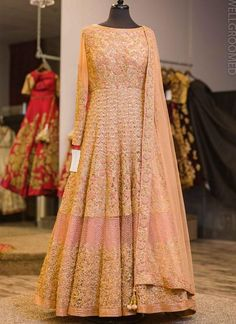 Baby Pink & Light Peach Color Embroidered Salwar Kameez of by # curomoda Designer Bridal Lehenga, Indian Bridal Lehenga, Pakistani Bridal Dresses, Indian Gowns, Designer Gowns, Indian Designer Wear, Indian Designers, Indian Wedding Outfits, Bridal Outfits