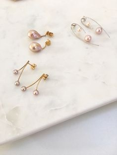 Beautiful pearl jewelry: Gold plated sterling silver earrings by Mermaid Stories, Copenhagen. Fine freshwater pearls in pink, baroque pearl earrings and cherry earrings. Pearl Jewelry, Pearl Earrings, Drop Earrings, Mermaid Stories, Cherry Earrings, Jewelry Photography, Baroque Pearls, Copenhagen, Sterling Silver Earrings