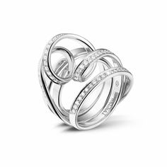 Dancing Lady collection by Baunat ~ Round diamond pavé ring in 18k white gold