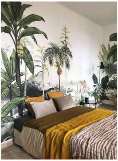 Botanical Bedroom, Botanical Wallpaper, Wallpaper Decor, Wallpaper Jungle, Wallpaper Ideas, Bedroom Wallpaper Nature, Wallpaper For Living Room, Wallpaper Backgrounds, Interior Wallpaper
