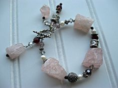 Raw Rose Quartz Nuggets Bracelet