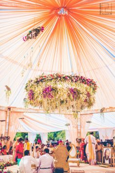 Wedding Decor - Ribhu & Nirali wedding story | WedMeGood | Hanging Floral Chandelier #wedmegood #indianwedding #weddingdecor #floraldecor #indianbride #indiangroom