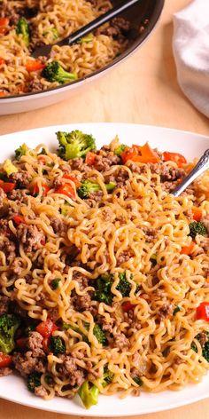 Beef Ramen Noodles Stir Fry is a healthy way to use instant ramen! #ramennoodles...  #ramenrecipeshealthy Ramen Recipes