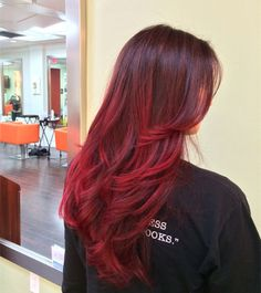 Long red ombre hairstyle for black hair, fashion hair color of 2015 summer