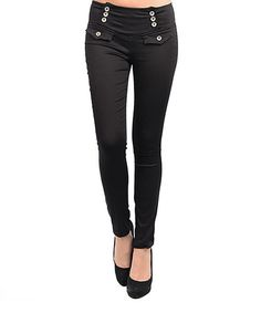 Take a look at this Button Accent Skinny Pants by Buy in America on #zulily today!