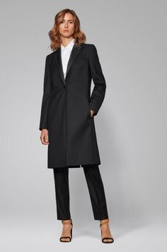BOSS - Tuxedo-style coat in Italian virgin-wool twill Formal Coat, Cropped Trousers, Slim Legs, Hugo Boss, Tuxedo, Stretch Fabric, Women Wear, Normcore, Feminine
