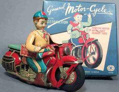 Antiquitäten & Kunst Brillant Blechspielzeug Motorrad Blechspielzeug