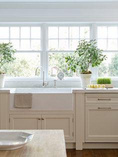 Cream cabinets, white walls