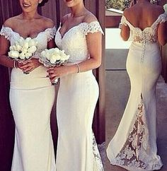 Love Love LOVE this Dress! Sexy Off-The-Shoulder Short Sleeve Hollow Out Solid Color Women's Wedding Dress #Affordable #Wedding #Dress #Ideas #I_do