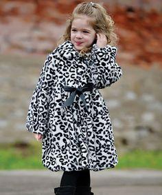 Black & White Snow Leopard Faux Fur Coat - Toddler & Girls by Donna Salyers' Fabulous-Furs