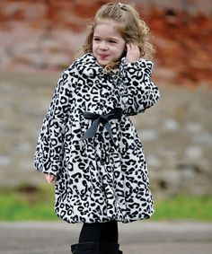 Take a look at this Black & White Snow Leopard Faux Fur Coat - Toddler & Girls by Donna Salyers' Fabulous-Furs on #zulily today!