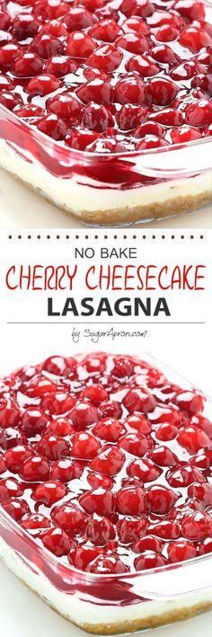 No Bake Cherry Cheesecake Dessert Lasagna Recipe via Sugar Apron - Dessert lasagna with graham cracker crust, cream cheese filling, pecans and cherry pie topping.