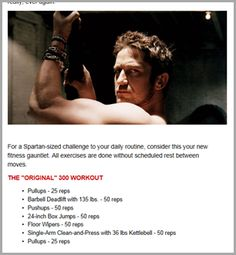 spartan challenge (300 workout). These are the workouts that the cast of 300 did - pretty killer