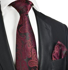 Burgundy and Black Paisley Necktie and Pocket Square – Paul Malone Pocket Square Rules, Men's Pocket Squares, Tie And Pocket Square, Khaki Pants Outfit, Paisley Wedding, Burgundy Tie, Teal Tie, Gq Mens Style, Black Suits