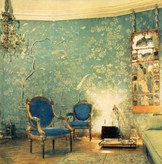 Pauline de Rothschild (The wallpaper is reminiscent of a mural my grandmother had painted in her bedroom...)