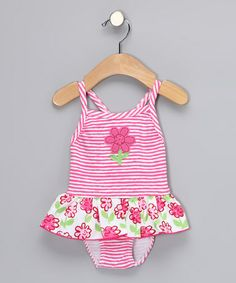 Take a look at this Pink Posy One-Piece - Infant, Toddler & Girls by Sweet Potatoes on #zulily today!