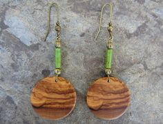 Wooden Earrings – Earrings olive wood green jade bronze wooden – a unique product by Alentejoazul on DaWanda