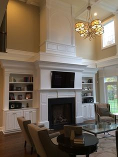 Super Living Room Ideas With Fireplace Tall Ceilings Built Ins 64 Ideas Fireplace Molding, Fireplace Redo, Tall Fireplace, Fireplace Design, Fireplace Mantels, Fireplaces, Fireplace Ideas, Farmhouse Fireplace, Mantles