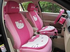2015 Rushed New 12pcs Car Seat Cover Set Cartoon Hello Kitty Rose For Universal Interior Decoration Wom0021