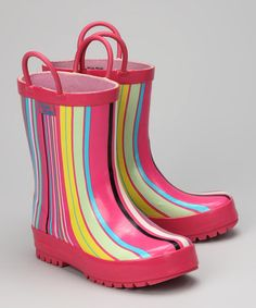 Look what I found on #zulily! Pink Stripe Rain Boot by Pluie Pluie #zulilyfinds {pinned by http://eco-babyz.com}