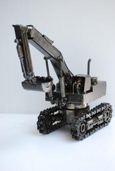 Backhoe Tractor Loader Metal Sculpture Model Recycled