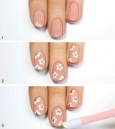 Fantastic Images nail art paso a paso Concepts , Decoración de uñas paso a paso Nail Art Designs, White Nail Designs, Diy Nails, Cute Nails, Nail Nail, Nail Drawing, Image Nails, Trendy Nail Art, Nagel Gel