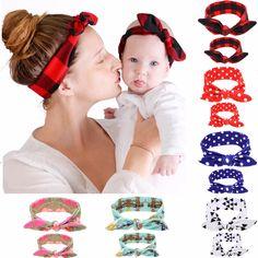 Puseky 2 Stk/set DIY Mom Moeder & Meisje Konijnenoren Hoofdband Plaid Bow Haarband Tulband Knoop Headwrap Haarband Accessoires