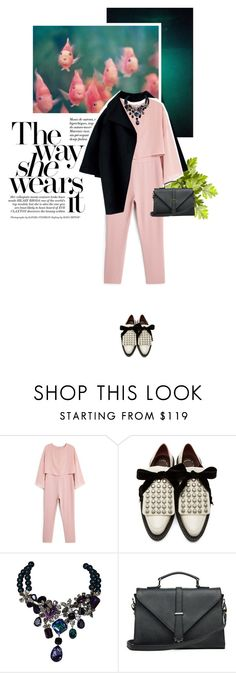 """StyleMission7   #Jumpsuit"" by crilovesjapan ❤ liked on Polyvore featuring MANGO, Marc by Marc Jacobs, Philippe Ferrandis, JAY. M and modern"