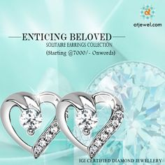 Design Of The Day.... ATJewel Introducing There Enticing Beloved Solitaire Earrings Collection,For Your Lovest One.Starting @7000/- Onwords.Shop Now #ATJewel #Diamond #Earrings #Solitaire #HeartCollection #WhiteGold http://www.atjewel.com/solitaire-earrings