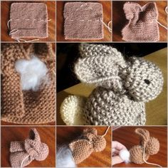 DIY knitted bunny from rug or coaster tutorial and instruction. Follow us: www.facebook.com/fabartdiy