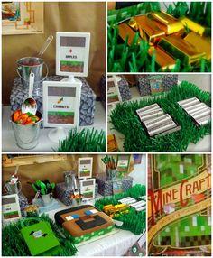Minecraft themed birthday party with Lots of Really Fun Ideas via Kara's Party Ideas KarasPartyIdeas.com #minecraftparty #minecraft #tweenpa...